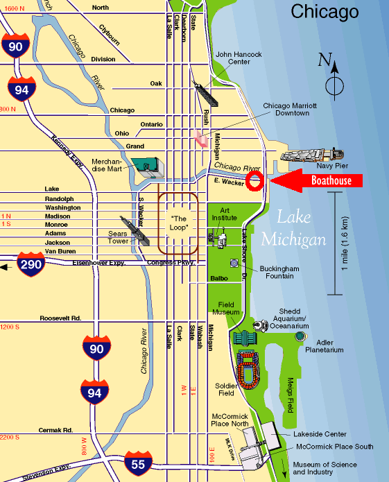 Map of Chicago showing CRRPC Boating Center Location | Chicago River ...